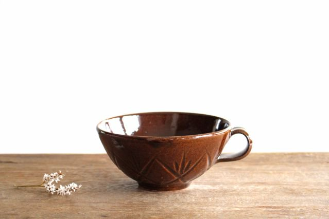 スープカップ クロス 飴 陶器 平沢佳子
