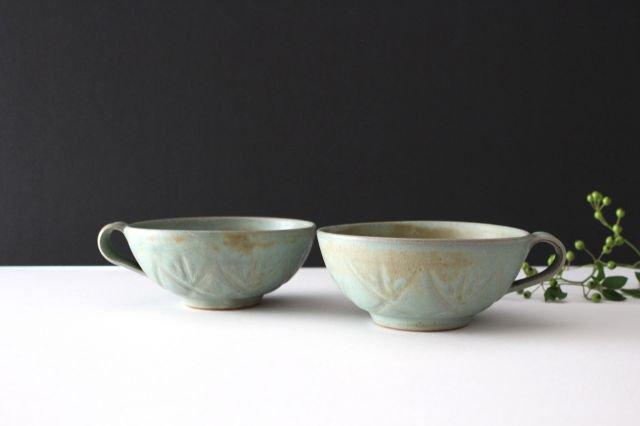 スープカップ クロス 薄荷 陶器 平沢佳子 画像2