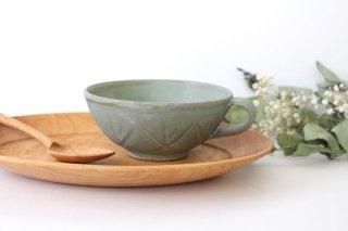 スープカップ クロス 薄荷 陶器 平沢佳子商品画像