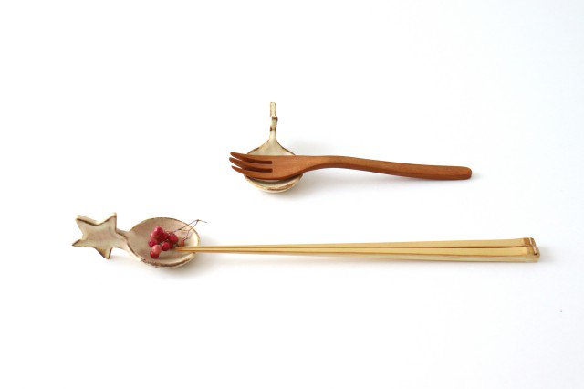 粉福 スプーン箸置き 星 陶器 木のね 画像4