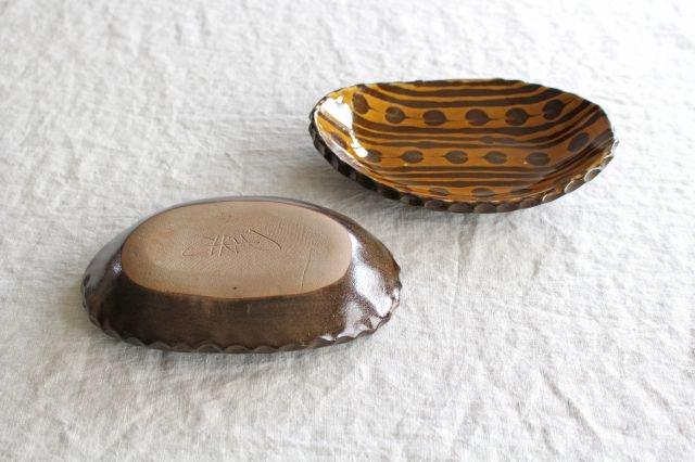 ハートボーダー オーバル皿 うす飴 陶器 佐川義乱 画像3