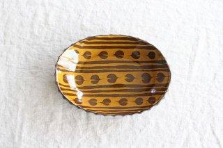 ハートボーダー オーバル皿 うす飴 陶器 佐川義乱商品画像