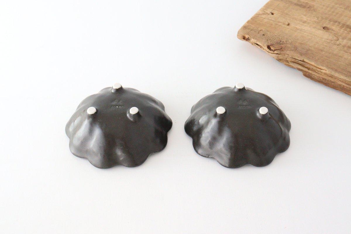 美濃焼 菊花 3寸小鉢 黒 磁器 画像3