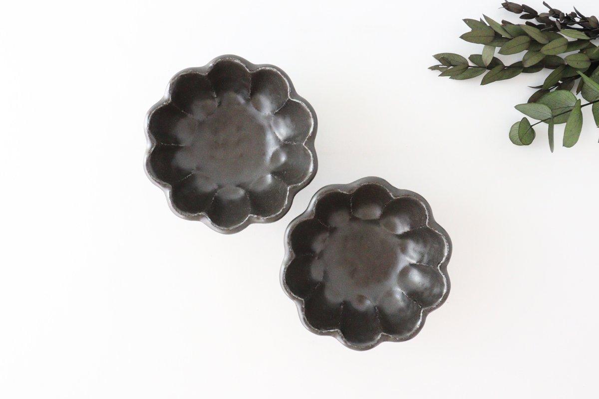 美濃焼 菊花 3寸小鉢 黒 磁器 画像4