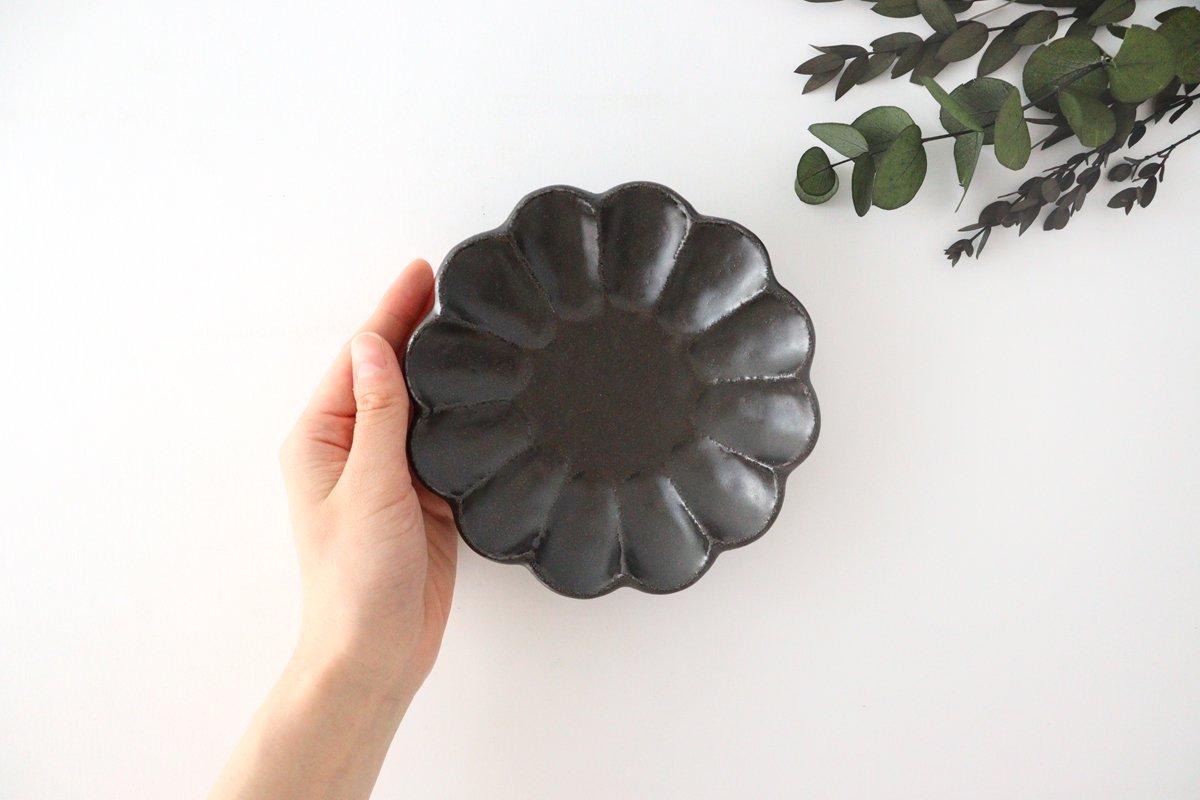 美濃焼 菊花 4寸皿 黒 磁器 画像5
