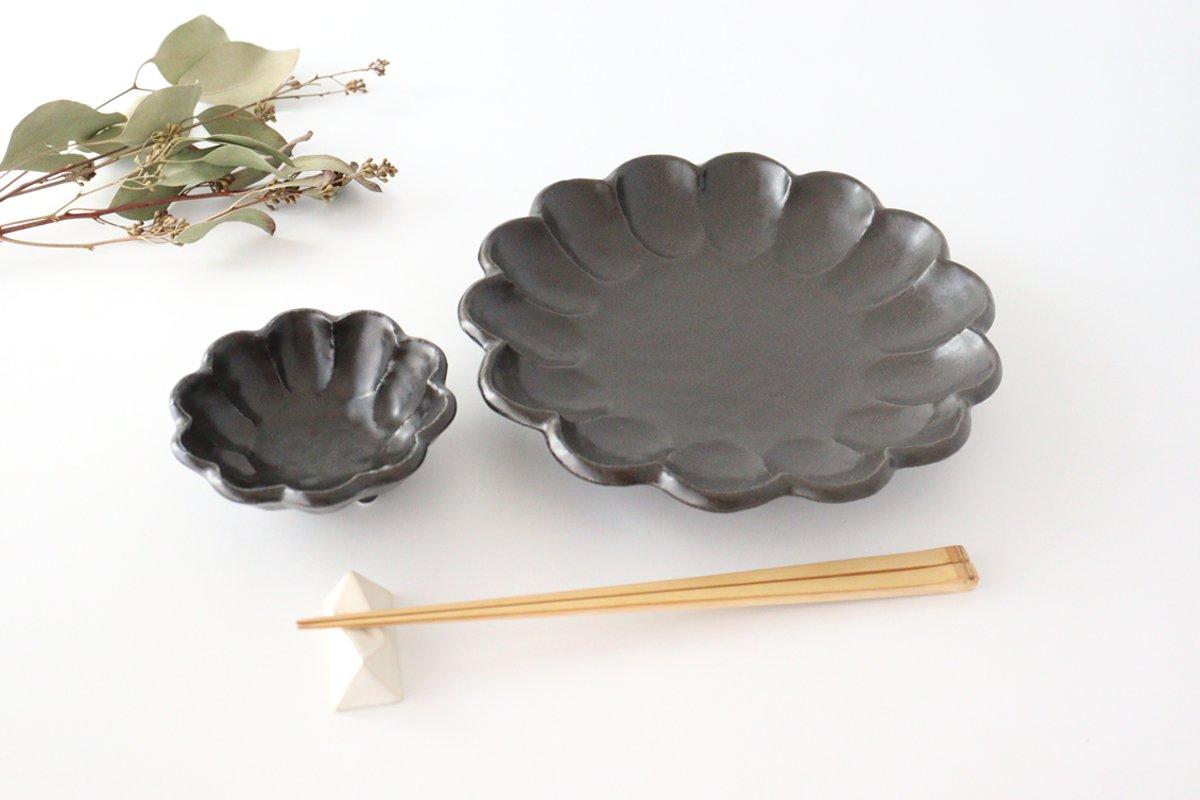 美濃焼 菊花 7寸皿 黒 磁器 画像3