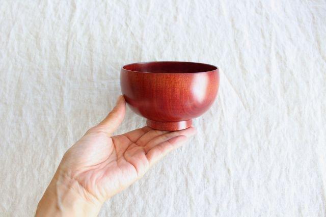 しらさぎ椀 M 漆赤 白鷺木工 画像4