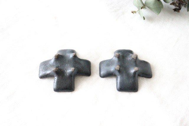 箸置き 十字型 ダークグレー 陶器 辻本路 画像6