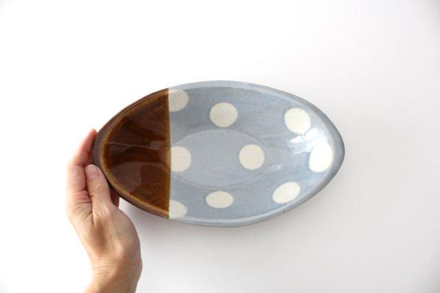 カレー皿 水玉 水色 陶器 えのきだ窯 榎田若葉 画像4