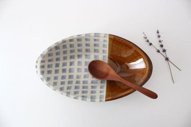 カレー皿 格子 水色 陶器 えのきだ窯 榎田若葉
