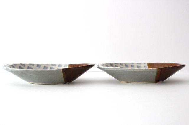 カレー皿 格子 水色 陶器 えのきだ窯 榎田若葉 画像2