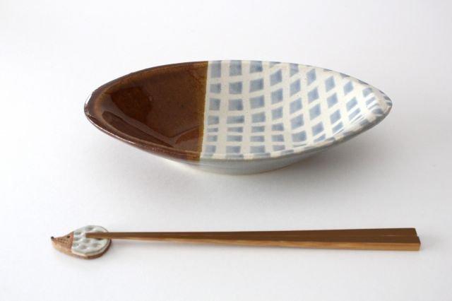 カレー皿 格子 水色 陶器 えのきだ窯 榎田若葉 画像4