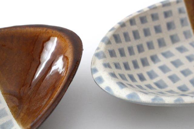 カレー皿 格子 水色 陶器 えのきだ窯 榎田若葉 画像5