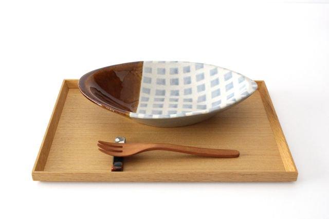 カレー皿 格子 水色 陶器 えのきだ窯 榎田若葉 画像6