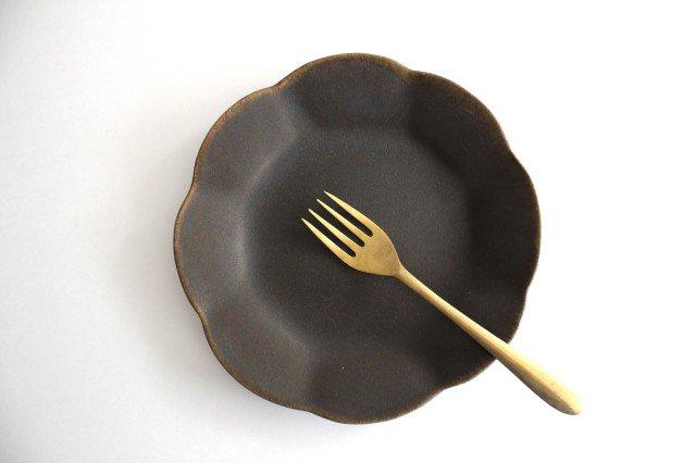 錆釉 輪花皿 中 陶器 古谷製陶所