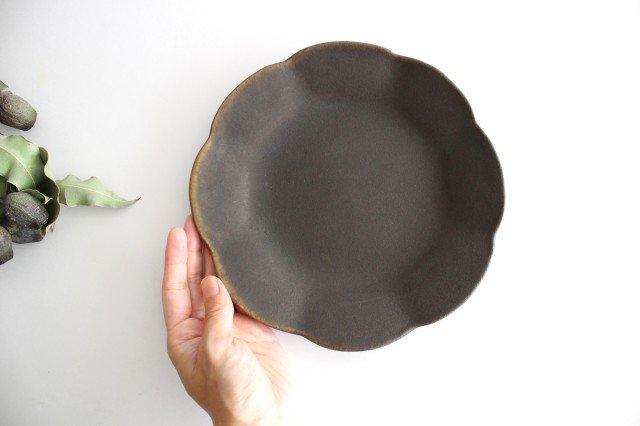 錆釉 輪花皿 中 陶器 古谷製陶所 画像5