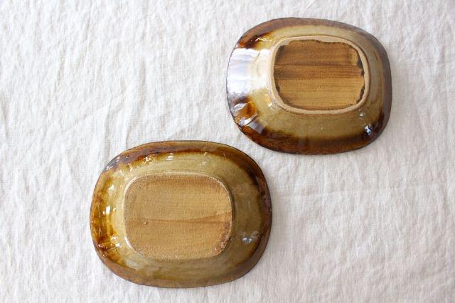 スリップウェア 楕円鉢 キャメル ドット 陶器 柳瀬俊一郎 画像3