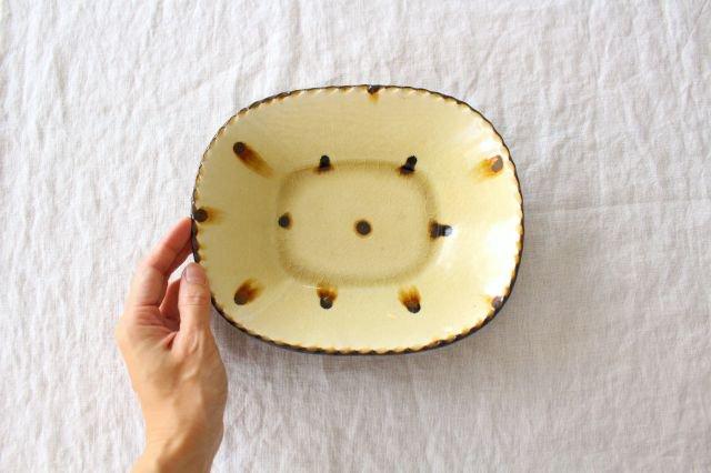 スリップウェア 楕円鉢 キャメル ドット 陶器 柳瀬俊一郎 画像4
