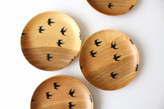 豆皿 ツバメ さくら 【A】 白鷺木工 画像2