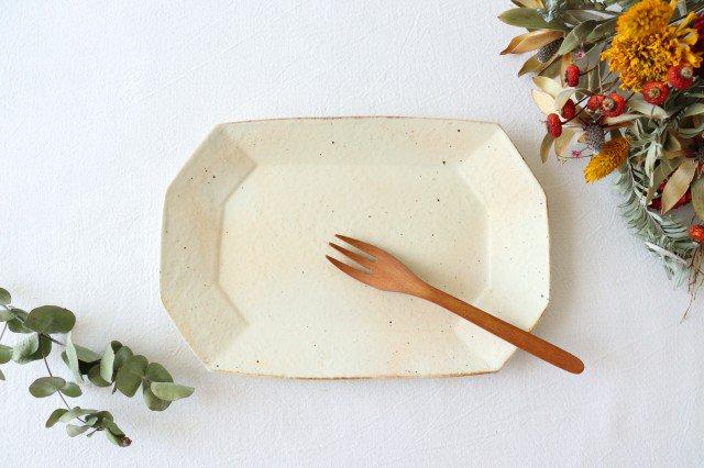 鉄散 8角長方皿 小 陶器 古谷製陶所