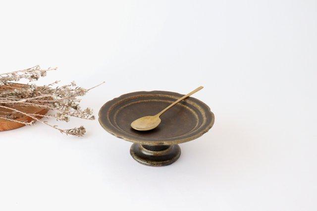 錆釉 彫刻高台皿 陶器 古谷製陶所