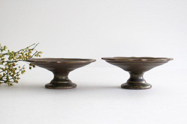 錆釉 彫刻高台皿 陶器 古谷製陶所 画像2