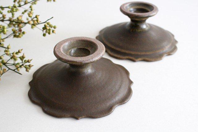 錆釉 彫刻高台皿 陶器 古谷製陶所 画像3