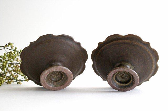 錆釉 彫刻高台皿 陶器 古谷製陶所 画像5