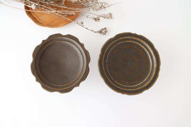 錆釉 彫刻高台皿 陶器 古谷製陶所 画像6
