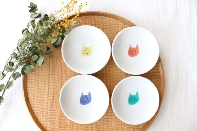 九谷焼 ハレクタニ ネコ豆皿 4枚セット 磁器