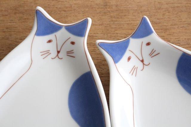 九谷焼 ハレクタニ ネコ皿 ブルー 磁器 画像3