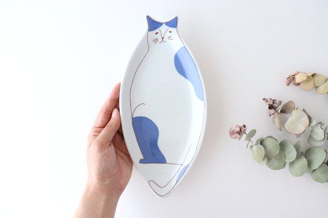 九谷焼 ハレクタニ ネコ皿 ブルー 磁器 画像6