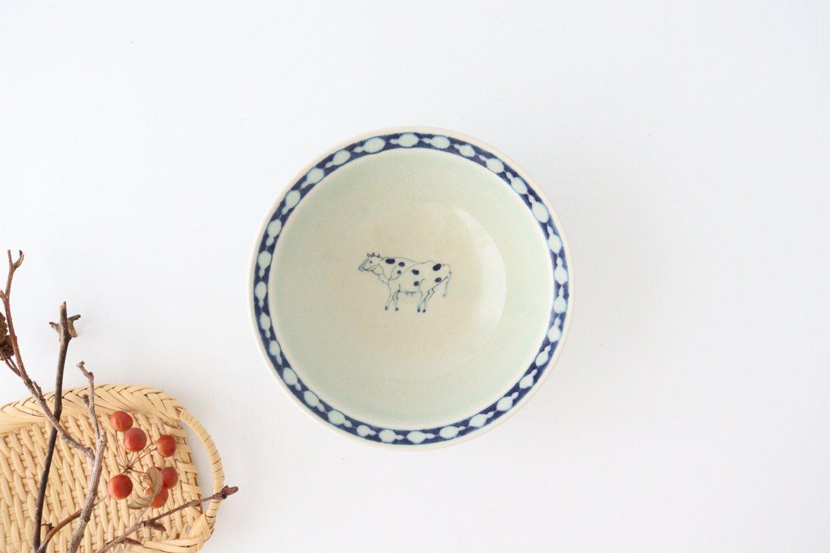 5寸リム鉢 ウシ柄 陶器 石井桃子