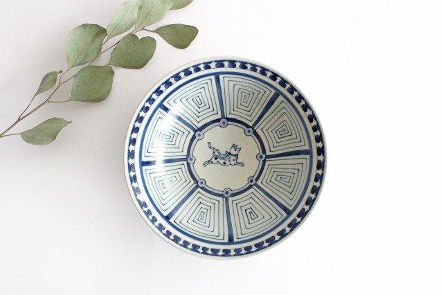 6寸リム鉢 犬猿柄 陶器 石井桃子