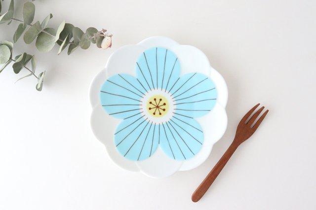 九谷焼 ハレクタニ ハナ取り皿 ブルー 磁器