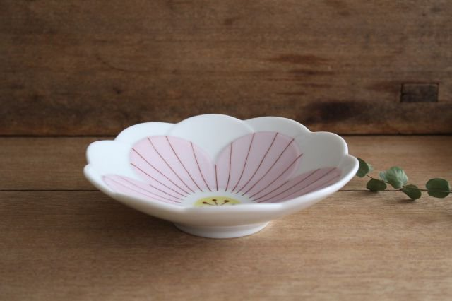 九谷焼 ハレクタニ ハナ中鉢 ピンク 磁器 画像4