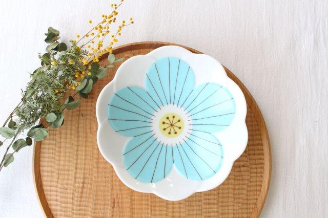 九谷焼 ハレクタニ ハナ中鉢 ブルー 磁器