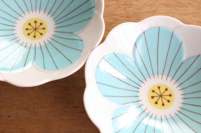 九谷焼 ハレクタニ ハナ中鉢 ブルー 磁器 画像5
