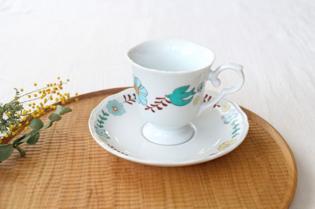 【無料ラッピング対象】花と鳥 カップ&ソーサー 磁器 ハレクタニ 九谷焼