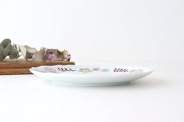 九谷焼 ハレクタニ 花と鳥プレート ピンク 磁器 画像2