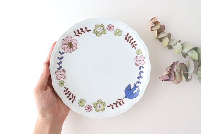 九谷焼 ハレクタニ 花と鳥プレート ピンク 磁器 画像3