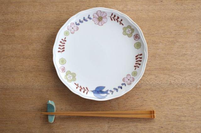 九谷焼 ハレクタニ 花と鳥プレート ピンク 磁器 画像5