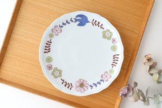 九谷焼 ハレクタニ 花と鳥プレート ピンク 磁器商品画像