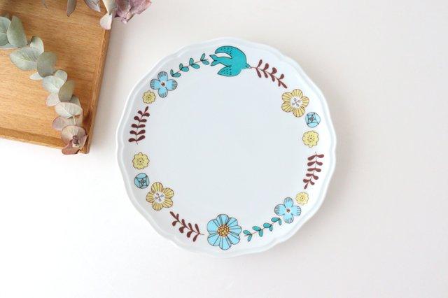 九谷焼 ハレクタニ 花と鳥プレート ブルー 磁器
