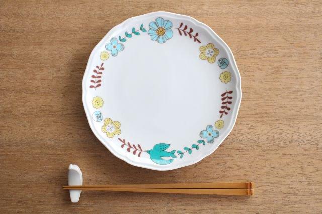 九谷焼 ハレクタニ 花と鳥プレート ブルー 磁器 画像4