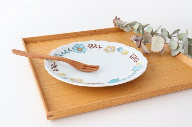 九谷焼 ハレクタニ 花と鳥プレート ブルー 磁器 画像5