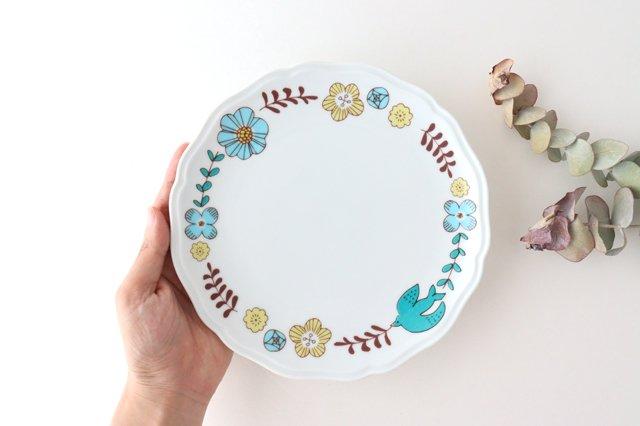 九谷焼 ハレクタニ 花と鳥プレート ブルー 磁器 画像6