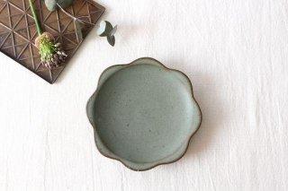 花型小皿 オリーブグリーン 陶器 鯨井円美商品画像