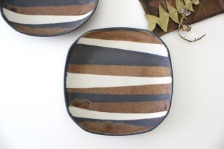 ストライプ皿 陶器 古川まみ商品画像
