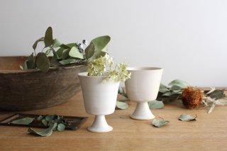 花器脚付 白 陶器 直井真奈美商品画像